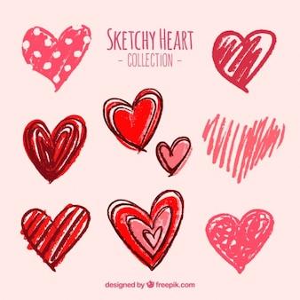 Plusieurs esquisses de coeurs