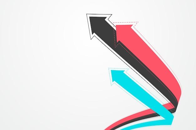 Plusieurs flèches étendues entrelacées symbolisent la morale de la croissance.