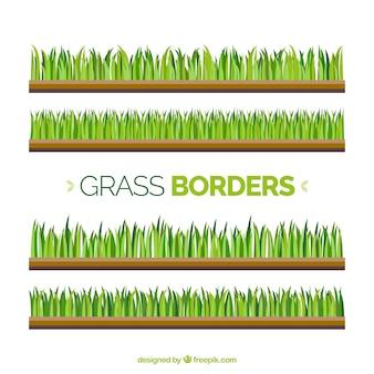 Plusieurs frontières de l'herbe dans les tons verts
