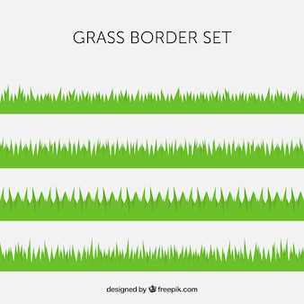 Plusieurs frontières de l'herbe verte en design plat