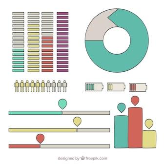Plusieurs graphiques colorés pour infographies