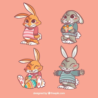 Plusieurs lapins de pâques jolie