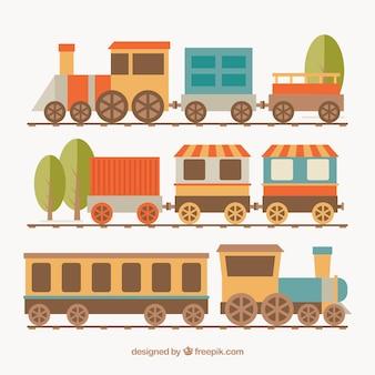 Plusieurs locomotives avec wagons