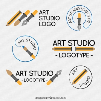 Plusieurs logos mignon de studio d'art