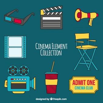 Plusieurs objets colorés de cinéma