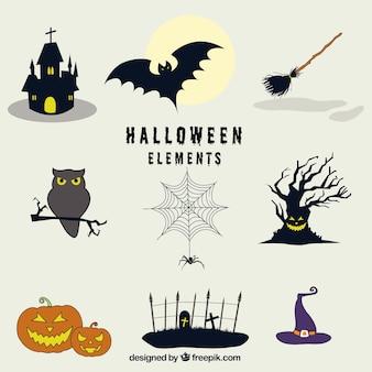 Plusieurs objets effrayants prêts pour halloween