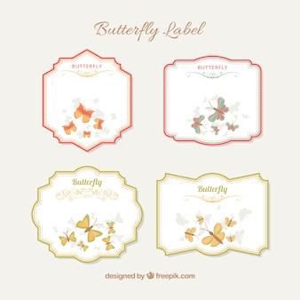 Plusieurs papillons autocollants rétro