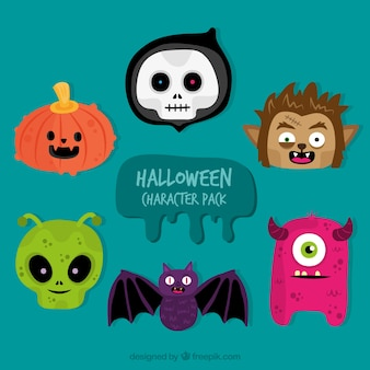 Plusieurs personnages de halloween dessinés à la main