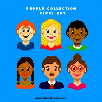 Plusieurs personnes avatars pixelated