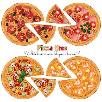 Plusieurs sortes de pizzas de différentes recettes.