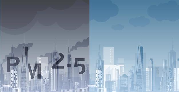 Pm25 en arrière-plan architectural de la ville avec des dessins de magazine web ou d'affiches modernes à utiliser