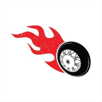 Pneu de roue brûlant feu vecteur élément graphique de vitesse de course