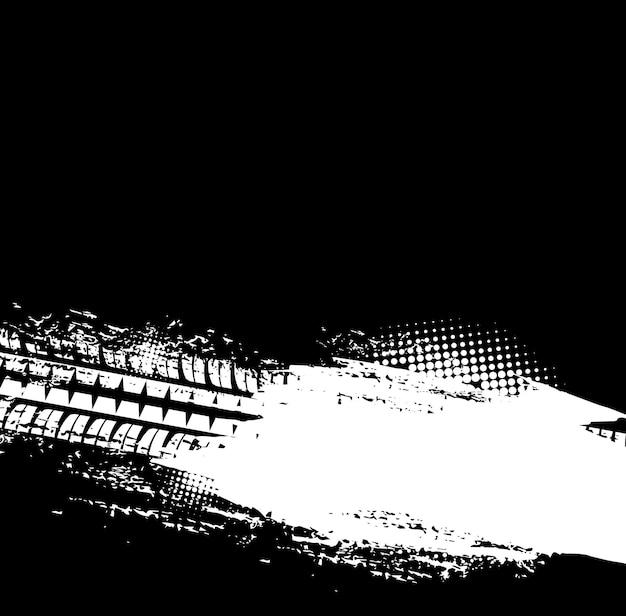 Le pneu tout-terrain grunge suit l'arrière-plan vectoriel avec des empreintes de pneus de roue de voiture sales. marques de bande de roulement en caoutchouc ou traces de pneus avec motif en demi-teintes noir et blanc, course sur piste et conception d'arrière-plan tout-terrain