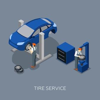 Pneus auto service isometric banner