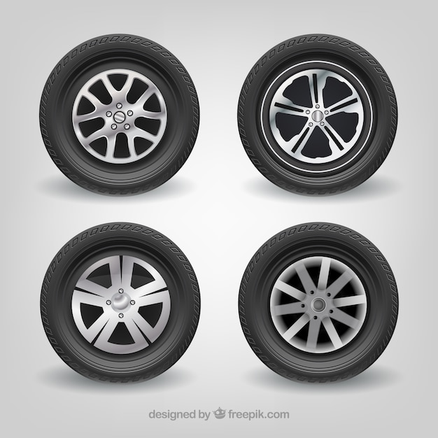 Pneus de voiture mercedes-benz ensemble de vecteurs réaliste