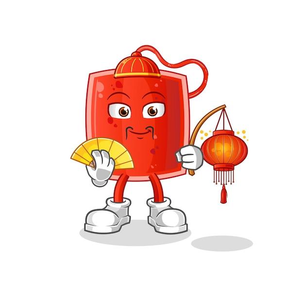 La poche de sang chinoise avec illustration de lanternes.