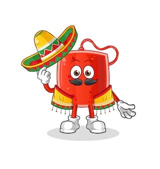 La poche de sang de la culture et du drapeau mexicains. mascotte de dessin animé