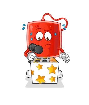 La poche de sang joue avec une mascotte de taupe. dessin animé