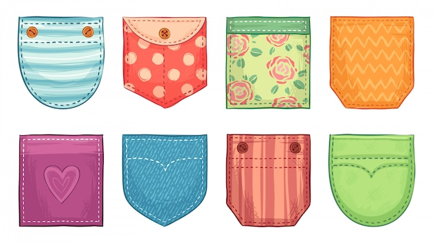 Poches plaquées de couleur. écussons de poche confortables avec couture, boutons de poches plaquées en denim et ensemble d'accessoires de vêtements confortables