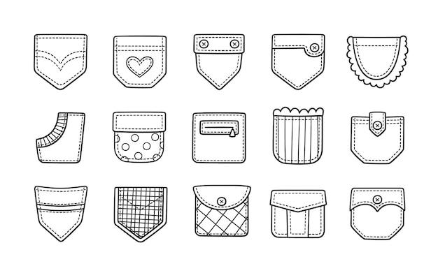 Poches Plaquées Doodle Pour Pantalons, T-shirts Et Autres Vêtements Vecteur Premium