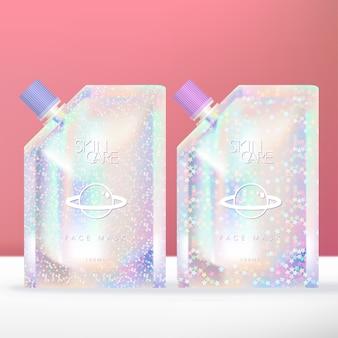 Pochette holographique scintillante ou paquet avec bouchon à vis