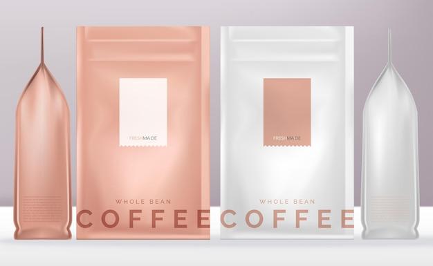 Pochette ou paquet de sachet de produit rose ou blanc brillant refermable de vecteur maquette de conception minimale