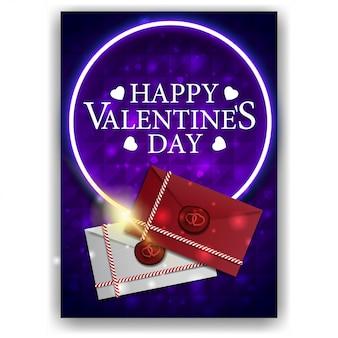 Pochette saint valentin bleue avec lettres d'amour