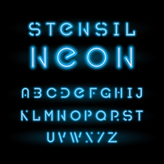 Pochoir néon, alphabet rond modulaire bleu
