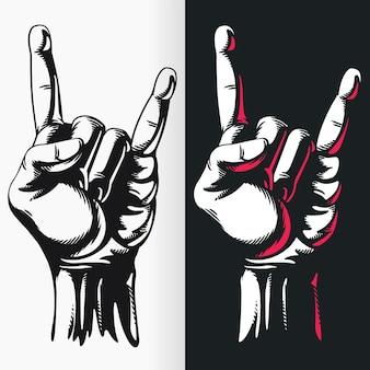 Pochoir de signe de geste de main de rock n roll de silhouette