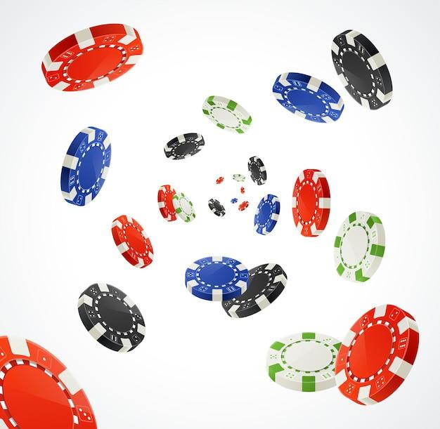 Pocker chips rain winner concept isolé sur blanc. des jetons de jeu pour vos créations