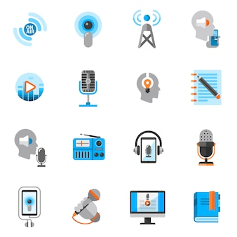 Podcast icons flat set