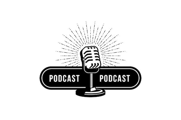 Podcast ou karaoké chanteur avec microphone rétro élément de conception pour le signe de l'emblème de l'étiquette du logo