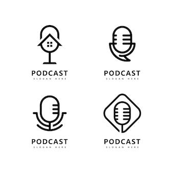 Podcast logo icône design vector template symboles de microphone