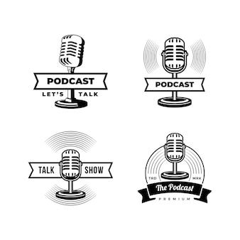 Podcast ou logo de karaoké vocal de chanteur avec microphone rétro et icône de vinyle.