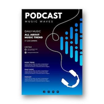 Podcast de musique de modèle de flyer plat a5