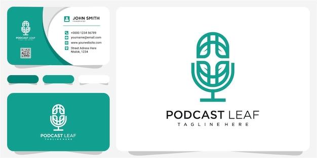 Podcast nature logo template vector podcast podcast de logo nature avec concept de conception de logo de feuille de ligne