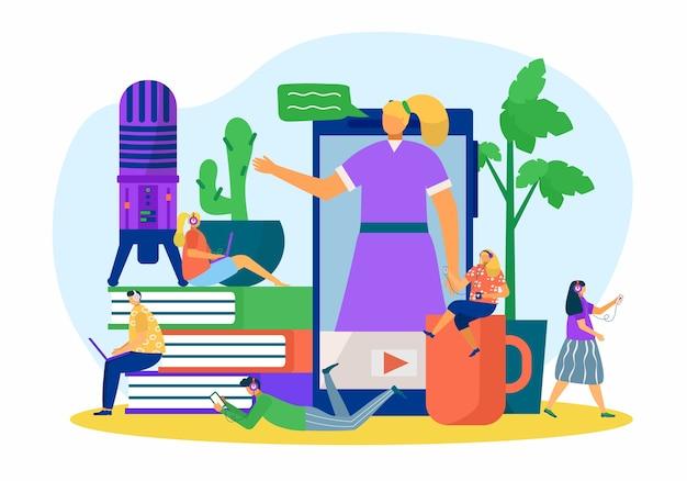 Podcast de personnes en ligne à la technologie smartphone