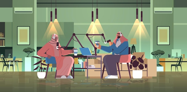 Podcasters arabes parlant à des microphones enregistrant un podcast en studio podcasting concept de radiodiffusion en ligne homme dans des écouteurs interviewant une femme illustration vectorielle horizontale pleine longueur