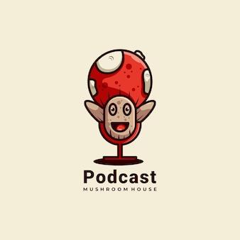 Podcat et champignons mascotte logo design illustration vectorielle