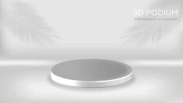 Podium 3d blanc avec superposition de feuilles