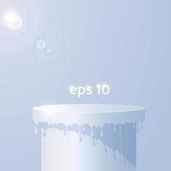Podium 3d de fusion illuminé dans un espace de lumière chaude illustration vectorielle