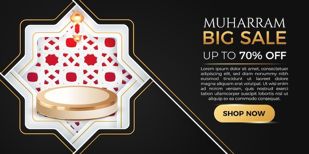 Podium 3d de modèle de bannière de grande vente de muharram avec le fond islamique d'or noir