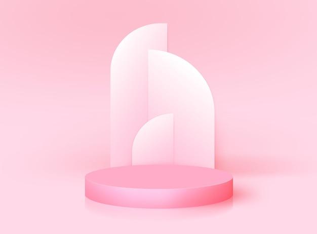 Podium 3d moderne avec arc art déco. maquette de stand de prix de nomination, conception de rendu de scène réaliste. plate-forme de piédestal vectorielle minimale pour le produit cosmétique, affichage de studio de mode. scène vide géométrique