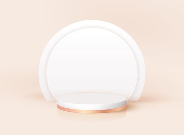 Podium 3d moderne avec arc art déco. plate-forme de piédestal vectorielle minimale pour le produit cosmétique, affichage de studio de mode. maquette de stand de prix de nomination, conception de rendu de scène réaliste. scène vide géométrique