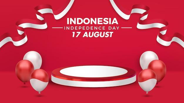 Podium d'affichage de décoration de la fête de l'indépendance de l'indonésie avec ballon sur fond rouge