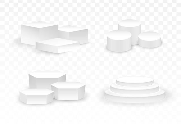 Podium blanc 3d piédestal et plate-forme réalistes, ensemble de scène en trois étapes.