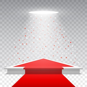 Podium blanc blanc avec tapis rouge et confettis sur fond transparent. piédestal avec projecteur. illustration.