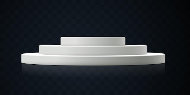 Podium blanc isolé sur fond transparent foncé