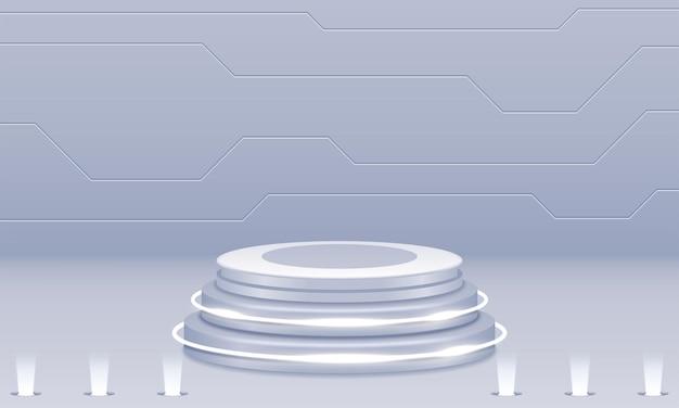 Podium blanc sur mur gris avec des lumières