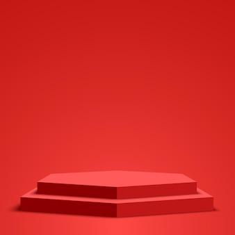 Podium blanc rouge piédestal scène hexagonale vector illustration